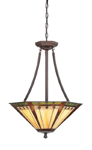 Quoizel TFAN2818RS Arden 3 Light Chain Hung Tiffany Pendant Light