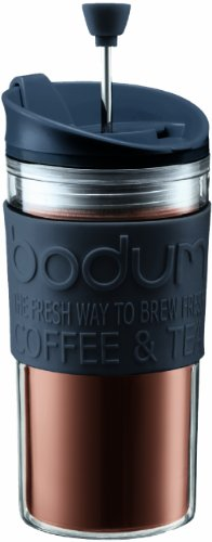 Bodum Double-Wall 12-Ounce Thermal Plastic Travel Coffee and Tea Press with Bonus Tumbler Lid (Black)