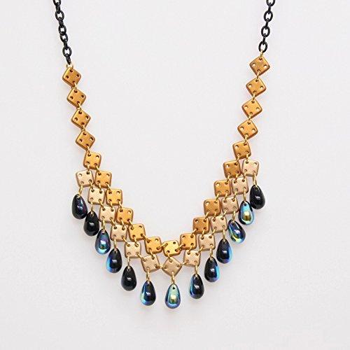 square-tear-drop-choker-necklace-gold-cream-square-beads-jet-blue-2-tone-tear-drop-beads
