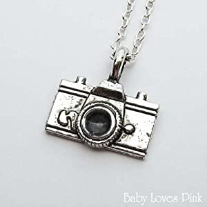 Antique Silver Camera Necklace