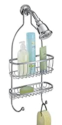 mDesign Bathroom Shower Caddy for Shampoo, Conditioner, Soap, Razor - Silver