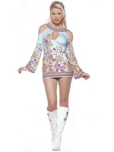 Sexy Open Shoulder Hippie Dress Sotume 60s 70s Retro Theatre Costume Groovy GoGo