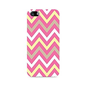 Ebby Yellow And Pink Broad Chevron Premium Printed Case For Apple iPhone 4/4s