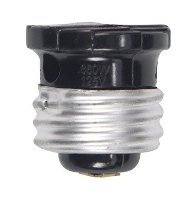 Cooper Wiring Devices 758B-Box 660-Watt 125-Volt Socket Adapter With Keyless Switch, Black