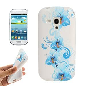 Blue Flowers Pattern TPU Protection Case for Samsung Galaxy Trend Duos / S7562