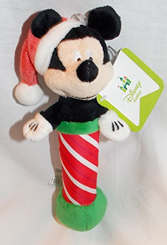 "Disney Baby 7"" Plush Christmas Mickey Mouse Rattle"