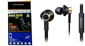 JIYANSHI Micromax Canvas Spark Q380 Compatible Combo of Screen Guard/Screen Protector & Earphone With Super Sound (Black)