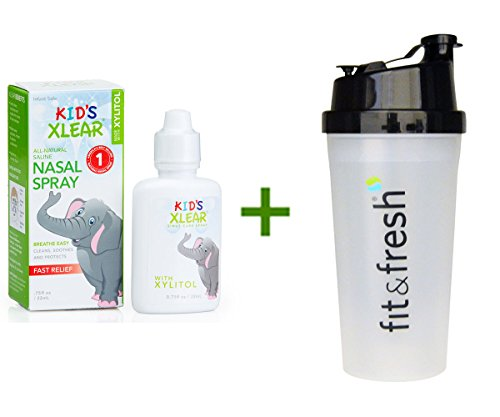 Xlear Inc (Xclear), Kid's Xlear, Saline Nasal Spray, .75 fl oz (22 ml), (4 PACK), Vitaminder, Power Shaker Bottle, 20 oz Bottle (Xclear Spray compare prices)