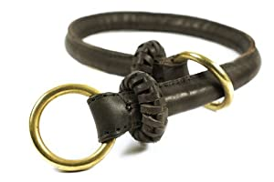 """Dean and Tyler """"PREMIUM DESPERADO"""", Dog Choke Collar with Brass Hardware - Brown - Size 18-Inch by 1/2-Inch Diameter, Fits Neck 16-Inch to 18-Inch"""