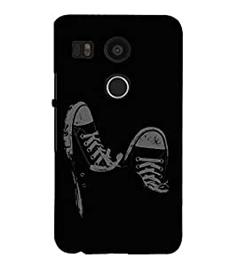 Vizagbeats Black and White Shoes Back Case Cover for Google Nexus 5x