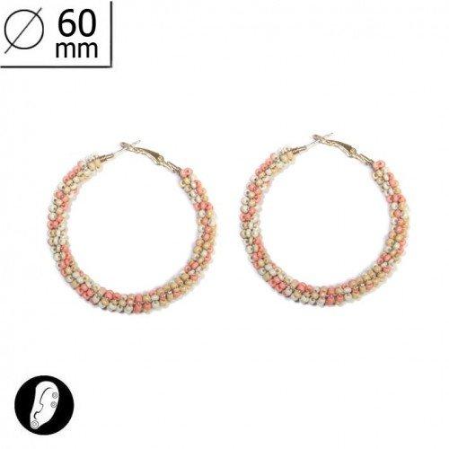sg paris women earrings hoop earring gold peach comb. metal/enamel/strass