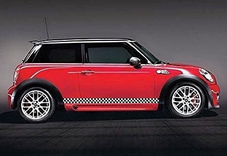 Red Mini Cooper Black Stripes Mini Cooper Black/white