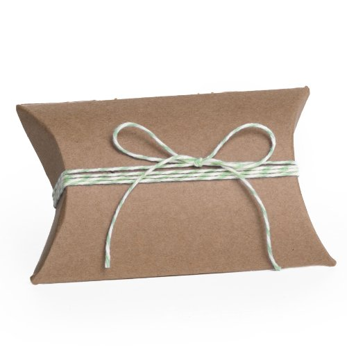 Dress My Cupcake Kraft Pillow 100-Pack Favor Boxes and Twine DIY Kit, 3.5-Inch, Mint Green
