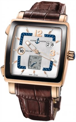 Mens Quadrato Dual Time Watch, Rose Gold 246-92cer/600