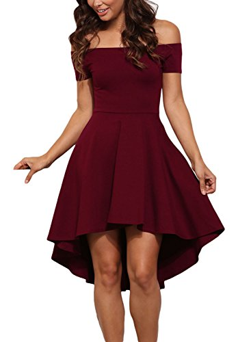 LOSRLY Womens Off Shoulder High Low Party Fit and Flare Dress Dark Red Burgundy Wine Maroon L 12 14