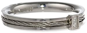 Women's Stainless Steel with Sterling Silver Cable and Cubic Zirconia Ring, Size 7