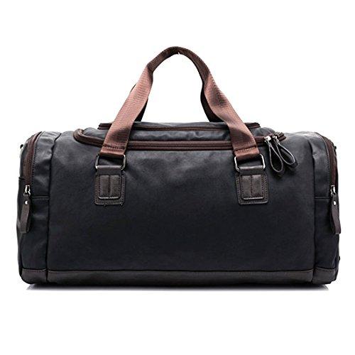 Borsoni, di grande capacità iTECHOR uomo di cuoio dell'unità Duffel Tote Handbag Retro Palestra Fodero Sport - Caffe Nero