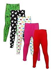 Little Stars Girls' Cotton Regular Fit Leggings- Pack of 5 (Po5L_114_26, Multi-Colour, 5-6 Years)