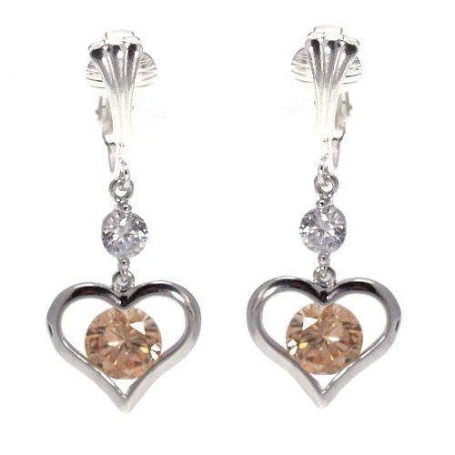 Shu Silver Plated Amber Crystal Clip On Earrings