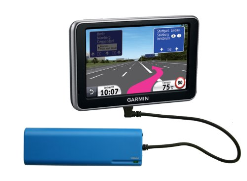 Batteriefach Garmin N&#252;vi GPS Navigation. Externes Batterieladeger&#228;t f&#252;r Garmin Nuvi 200, 300, 500, 600, 700, 800, 1200, 1300 1390T pro 1400 140T 150T.. Notlader mit 90&#176; Stecker - blau