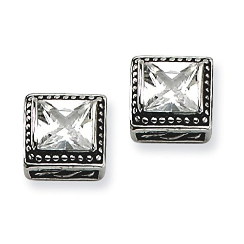 Stainless Steel Antiqued Square Cz Post Earrings. Metal Weight- 4.03G.
