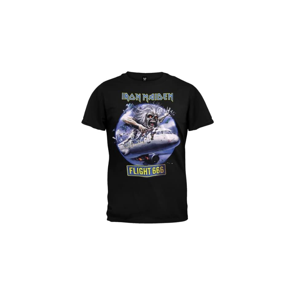 Iron Maiden   Mens Flight 666 T shirt Small Black