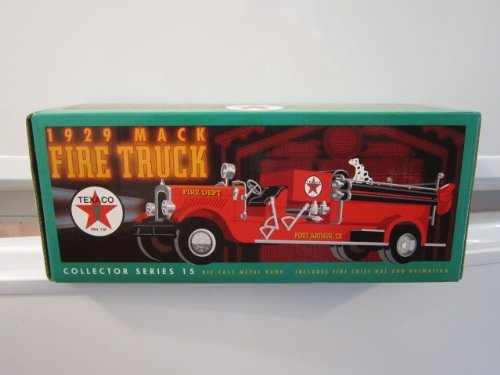 TEXACO 1929 MACK FIRE TRUCK COLLECTOR SERIES DIE CAST METAL BANK INCLUDES FIRE CHIF HAT AND DALMATIAN - 1