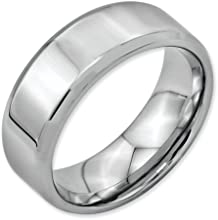 Bridal Stainless Steel Beveled Edge 8mm Polished Band