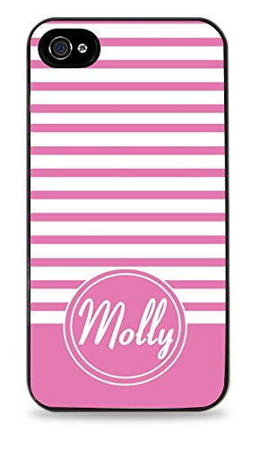 Pink Stripes Personalized Monogram Chevron Black 2-In-1 Protective Case With Silicone Insert For Apple Iphone 4 / 4S front-734408