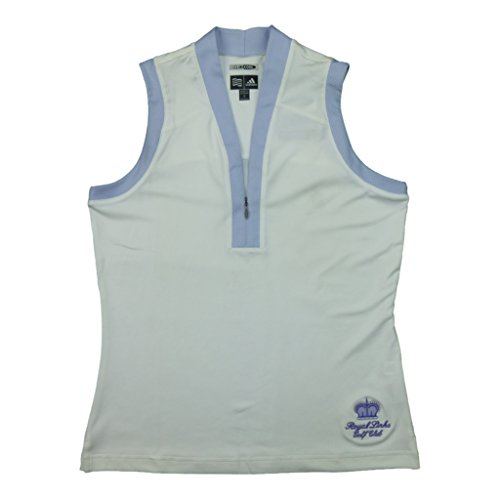 Adidas Womens Climacool Sleeveless Golf Shirt with Royal Links Logo Small White/Lilac