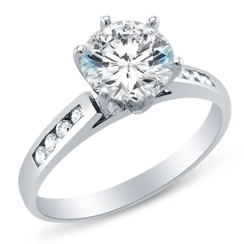 Size 5 - Solid 14K White Gold Classic Traditional Round Brilliant Cut Solitaire With Side Stones Highest Quality Cz Cubic Zirconia Engagement Ring 1.25Ct.