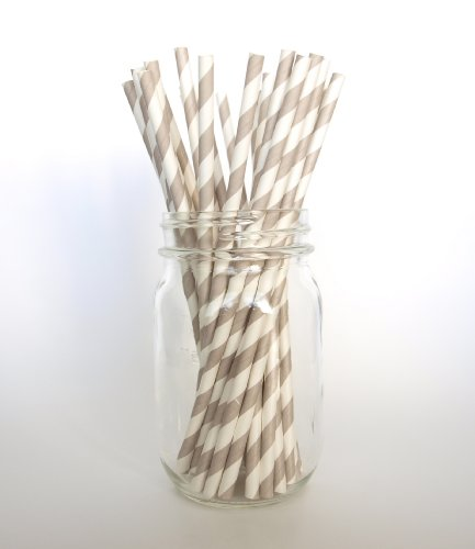 Silver Retro Paper Straws - 25 Pack - Perfect Of Catering Wedding Receptions And Birthday Celebrations front-874082