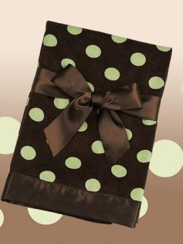 Brown Polka Dot Snuggle Blanket with Kiwi Dots by Bearington