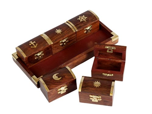 Christmas Holiday Gifts Set of 6 Wooden Pill Boxes Dispensers with a Tray and Brass Inlay