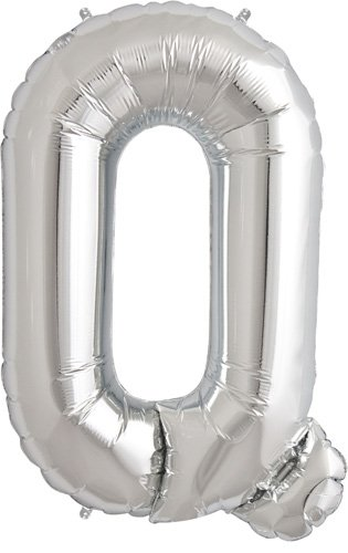 Letter Q - Silver Helium Foil Balloon - 34 inch