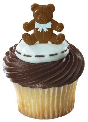 Boy Bear Baby Shower Cupcake Toppers - 24 Picks