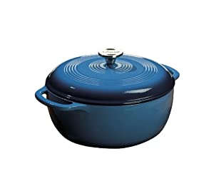 Lodge Color EC6D33 Enameled Cast Iron Dutch Oven, Blue, 6-Quart