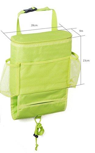 LBB Car Seat Back Organizer, Heat-Preservation Multi-Pocket Travel Storage Bag (Green)