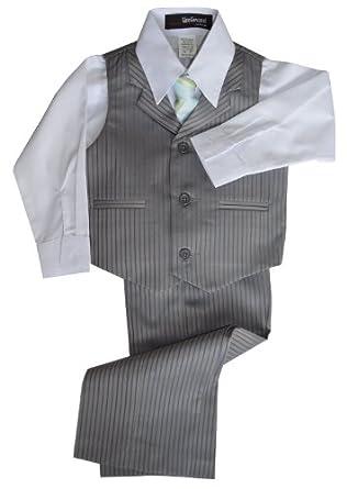 G280 Pinstripe Boys Formal Dresswear Vest Set (8, Silver)