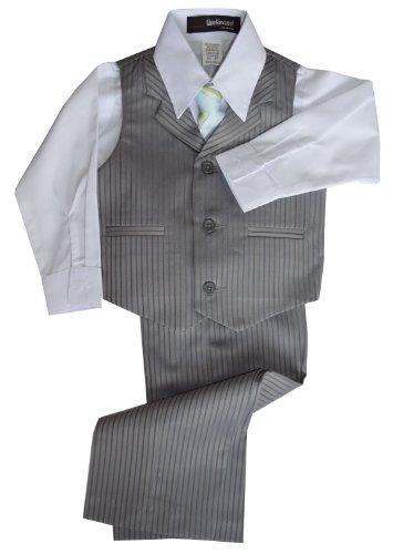G280 Pinstripe Boys Formal Dresswear Vest Set (Large/12-18 Months, Silver) front-529559