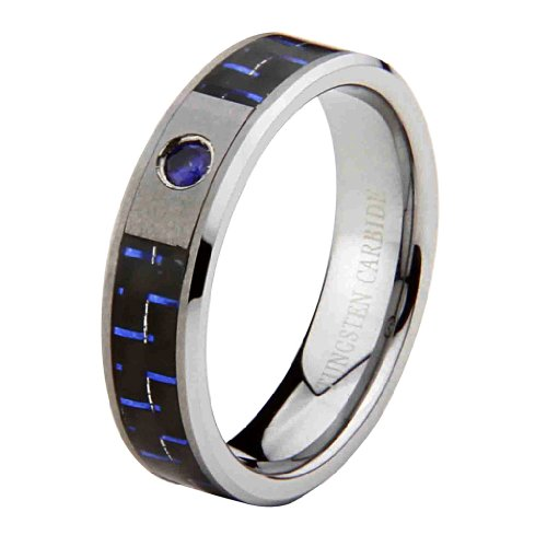 6mm 1 One Stone Saprhire Carbon Fiber Cobalt Free Tungsten Carbide COMFORT-FIT Wedding Band Ring for Men and Women (Size 8 to 12) - Size 10