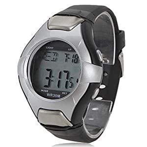 Unisex Multi-Functional Style Noctilucent Rubber Digital Automatic Wrist Watch with Heart Rate Monitor (Black)