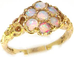 Luxury Ladies Solid 14K Yellow Gold Natural Fiery Opal Victorian Daisy Ring - Finger Sizes 5 to 12 A