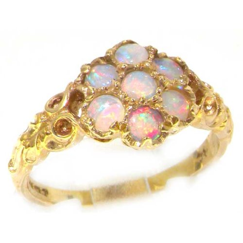 14K Yellow Gold Womens Opal Daisy Flower Ring - Size 12 - Finger Sizes 5 to 12 Available - Suitable as an Anniversary ring, Engagement ring, Eternity ring, or Promise ring