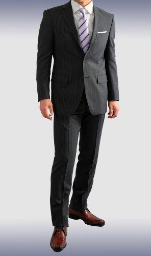 春夏 洗える パンツ 段返り3ツボタン ビジネス スーツ チャコールグレー・ダブルピンストライプ 体型:Y体 6号