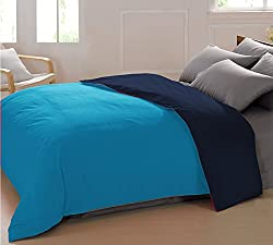 AURAVE Reversible Style Solid Plain Turquoise Blue & Navy Blue Mercerised Cotton Duvet Cover/ Quilt Cover -Single Size (Gift Wrapped)