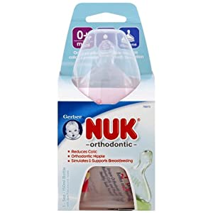 NUK Orthodontic Silicone BPA Free Nipple Bottle, 5 Ounce, Single Pack, Colors May Vary