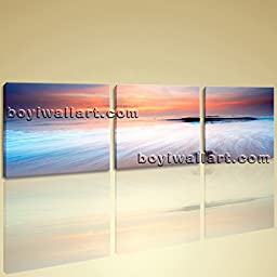 Large Wall Art Print On Canvas Home Decor Picture HD Beach Landscape Sunset 3 Panels Wall Art Inner Framed Ready To Hang by Bo Yi Gallery 62\