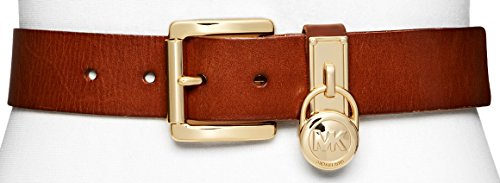Michael Kors Signature Belt with MK Charm Keeper - Luggage (Medium)