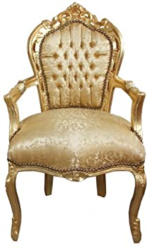Casa Padrino Baroque Dinner Chair Gold Pattern / Gold with armrest Baroque furniture antique style
